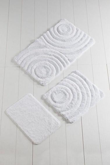 Chilai Home Wave 3'lü Set Klozet Takımı Akrilik Banyo Paspası Beyaz